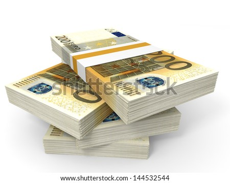 Stack of EURO banknotes. Two hundred. 3D illustration.