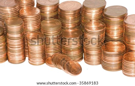 stack of euro cent coins , clipping path, isolated on white
