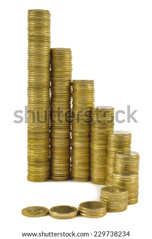 stack of Euro coins as chart for success - stock photo
