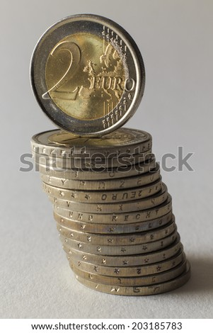 Stack of 2-Euro coins  in front of white background