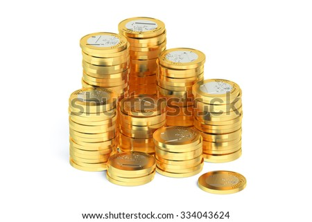 Stack of Euro coins isolated on white background