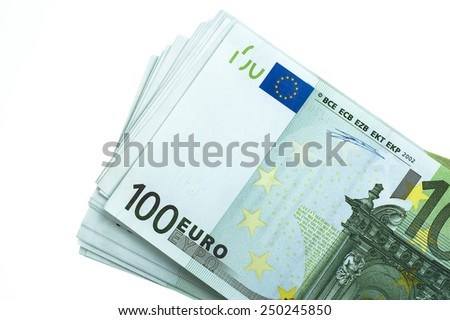 Stack of euro on white