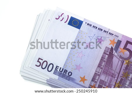 Stack of 500 euro on white - stock photo