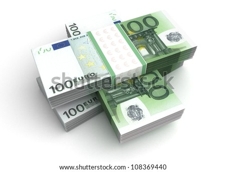 Stack of Euro (with Clipping path) - stock photo