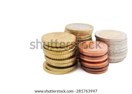 Stack of European Euro coins in white background