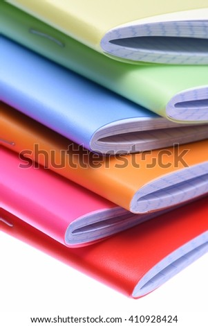 Stack of exercise books isolted on white background