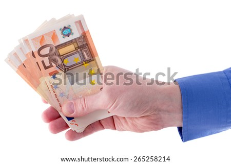 Stack of fifty euro banknotes in businessman hand, isolated on white - stock photo