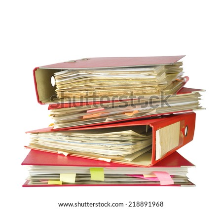 stack of file folders, isolated on white background  - stock photo