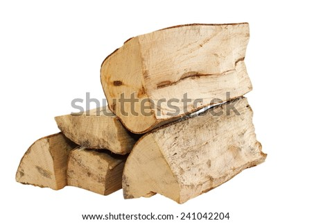 stack of fire wood isolated over white background - stock photo