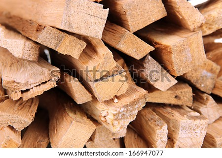 Stack of firewood close up