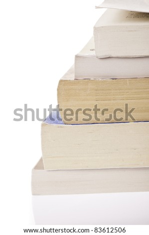 Stack of five, old discoloured books, isolated on white backgroud - stock photo