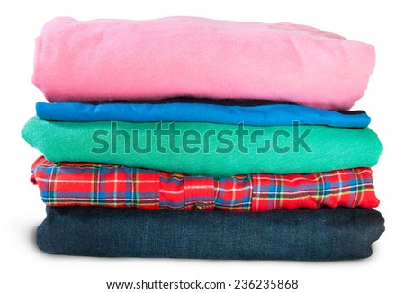Stack Of Five Types Of Clothes Isolated On White Background - stock photo