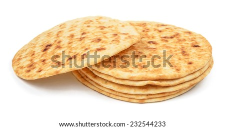 stack of flat cakes (pancakes) isolated on white