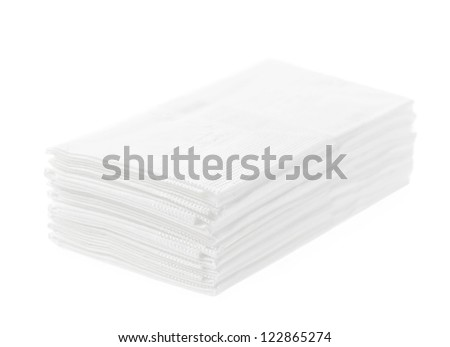 Stack of folded disposable tissue papers on white background - stock photo