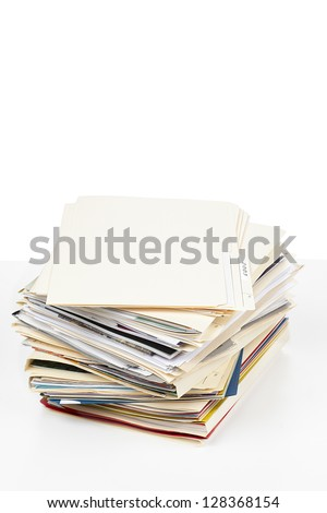 Stack of folders displayed on white background.