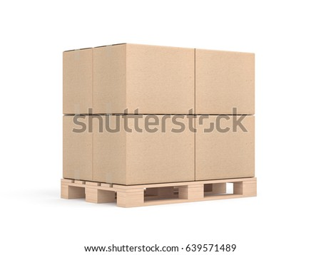 Stack Of Four Cardboard Boxes Mockup On Euro Pallet In White Sudio 3d Rendering