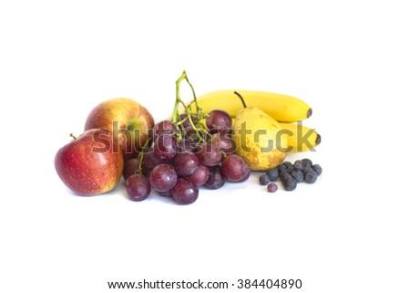 Stack of Fresh Fruits isolates on white background - stock photo