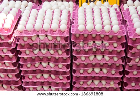 Stack Of Fresh Organic Eggs At A Turkish Street Market In Istanbul, Turkey.    - stock photo