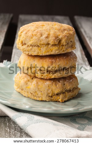 stack of freshly baked homemade pumpkin biscuits