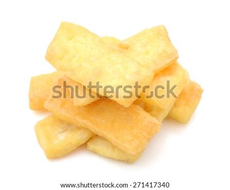 stack of fried tofu on white background  - stock photo