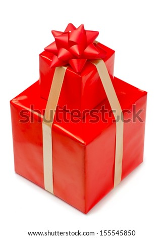 Stack of gift boxes with ribbon and bow - stock photo