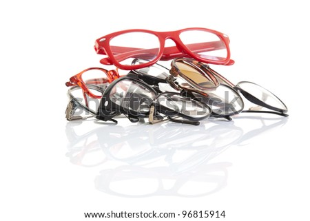 Stack of glasses with perfect reflection - stock photo