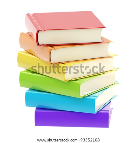 Stack of glossy and rainbow colored books isolated on white