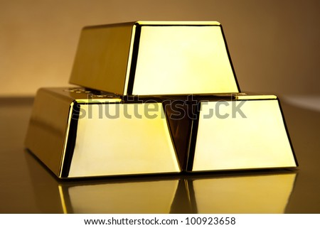 Stack of gold bar - stock photo