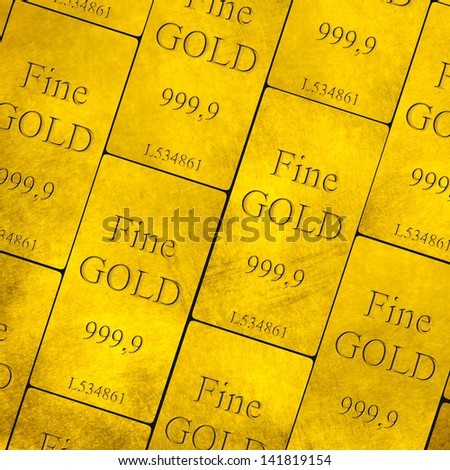 Stack of gold bars. 999,99 Fine Gold - stock photo