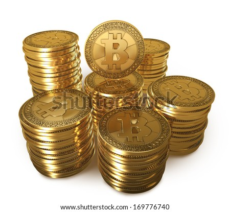 Stack of gold coins Bitcoin - stock photo