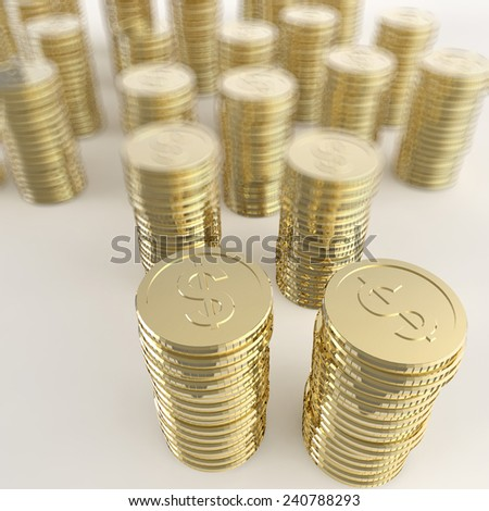 Stack of golden coins dollar sign 3d on white background