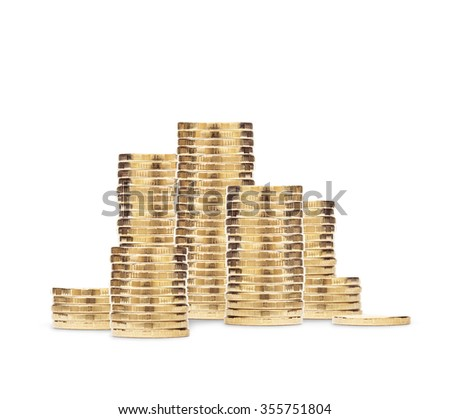 Stack of golden coins isolated on the white background - stock photo