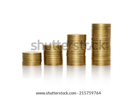 stack of golden coins isolated on white background - stock photo