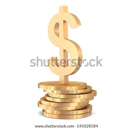 Stack of golden dollar coins on white with sign of dollar - stock photo