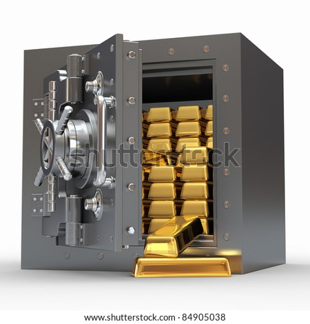 Stack of golden ingots in bank vault. 3d - stock photo