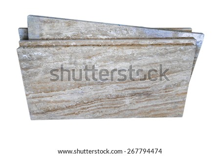 stack of granite slab isolated on white - marble industry factory rough surface sandstone gray background - stock photo
