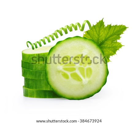 Stack of green cucumber slices with leaf isolated on white - stock photo