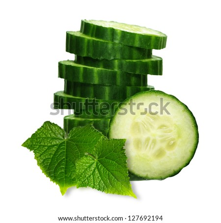 Stack of green cucumber slices with reflection isolated on white - stock photo