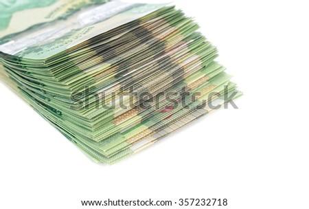 Stack of green polymer bills - stock photo