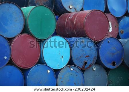 stack of grunge barrel - stock photo