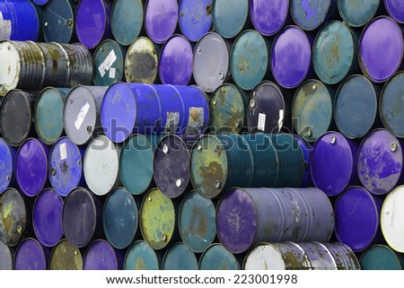 stack of grunge barrels - stock photo