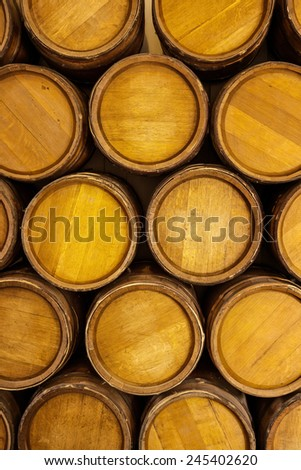 Stack of gun powder barrels background - stock photo