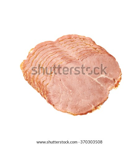 Stack of ham slices isolated