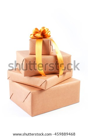 Stack of handcraft gift boxes isolated on white background - stock photo
