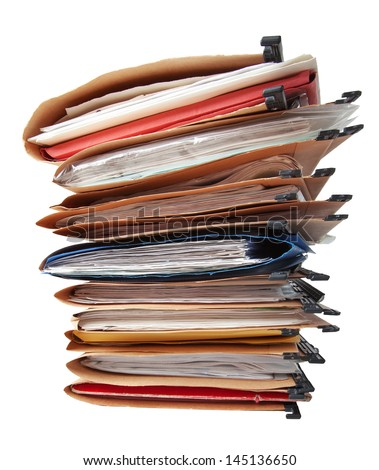 Stack of hanging file folders. - stock photo