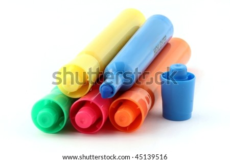 Stack of highlighters isolated on pure white - stock photo