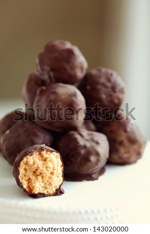 Stack of Homemade Peanut Butter Balls - stock photo