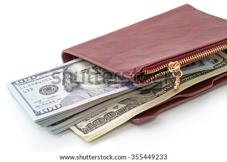 Stack of hundred-dollar bills in your wallet isolated on a white background