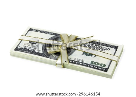 stack of hundred-dollar bills tied with a   ribbon . White background