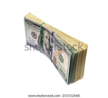 Stack of hundred dollars isolated on a white background